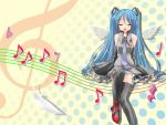 closed_eyes hatsune_miku long_hair musical_note open_mouth solo twintails vocaloid wings yellow