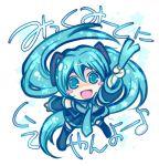 aqua_hair chibi detached_sleeves hatsune_miku long_hair skirt star stars thighhighs twintails very_long_hair vocaloid