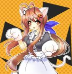 antenna_hair brown_eyes brown_hair cat_ears cat_paws cat_tail clannad fuguno furukawa_sanae halloween long_hair lowres maid paws sweatdrop tail