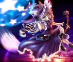 boots broom broom_riding brown_eyes chain chains hat inuboe jewelry kirisame_marisa open_mouth pendant star stars touhou witch_hat