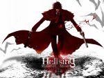 1600x1200 alucard_(hellsing) anime bats black_hair cross dual_wielding grin gun hellsing long_coat pentagram pistol vampire