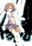 1girl biribiri brown_eyes brown_hair electricity highres misaka_mikoto school_uniform short_hair shorts tazaki_hayato to_aru_kagaku_no_railgun to_aru_majutsu_no_index