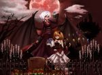 alternate_costume bare_shoulders bat_wings black_sclera blonde_hair blue_rose bouquet candelabra candle castle choker dress elbow_gloves emerane fence flandre_scarlet flower full_moon gloves highres merutoreimu moon multiple_girls no_hat no_headwear red_eyes red_moon remilia_scarlet rose short_hair siblings side_ponytail silhouette sisters strapless_dress tears tombstone touhou white_hair wings