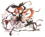 card cards cleavage floating_card haneoka_meimi k_ototo kaitou_saint_tail long_hair magical_girl necktie pantyhose red_hair redhead ribbon ribbons saint_tail staff