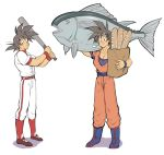 1boy :o =3 arm_up ayo_(isy8800) bag baseball_bat baseball_uniform belt black_eyes black_hair boots bread dougi dragon_ball dragon_ball_super dragonball_z eyebrows_visible_through_hair fish food frown full_body long_sleeves looking_away male_focus shadow shirt short_hair simple_background son_gokuu spiky_hair sportswear standing uniform white_background white_shirt wristband