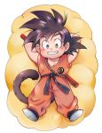 1boy ayo_(isy8800) black_eyes black_hair clothes_writing crossed_arms dougi dragon_ball dragon_ball_(classic) eyebrows_visible_through_hair flying_nimbus full_body happy looking_at_viewer lying male_focus nyoibo shadow short_hair simple_background smile son_gokuu spiky_hair tail teeth white_background