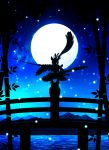 1girl bamboo blue bridge fate/grand_order fate_(series) hair_ornament harada_miyuki highres holding holding_sword holding_weapon long_hair long_sleeves looking_at_viewer monochrome scabbard sheath solo squatting sword ushiwakamaru_(fate/grand_order) very_long_hair weapon wide_sleeves