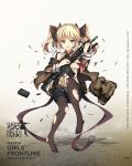 1girl bag bangs bare_shoulders battle_rifle belt bikini bikini_top black_legwear black_ribbon black_shorts blazer blonde_hair blue_eyes blush bow bow_panties breasts brown_jacket buckle bullet character_name closed_mouth clothes_writing collarbone copyright_name detached_collar floating frown full_body girls_frontline gun hair_ornament hair_ribbon headset highres holding holding_gun holding_magazine_(weapon) holding_weapon jacket jianren knee_up larue_tactical_obr logo long_hair long_sleeves magazine_(weapon) medium_breasts midriff navel necktie no_shoes obr_(girls_frontline) off_shoulder official_art open_blazer open_clothes open_jacket panties panties_under_pantyhose pantyhose red_neckwear ribbon rifle scope shiny shiny_skin short_shorts shorts shoulder_bag sidelocks solo stomach swimsuit torn_bikini torn_clothes torn_jacket torn_pantyhose twintails two_side_up unbuttoned_pants underwear weapon white_bikini wide_sleeves