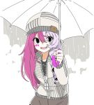 #compass 1girl asymmetrical_hair beanie brown_skirt commentary_request drill_hair grey_background grey_eyes hat heart heart_necklace holding holding_umbrella hood hoodie jewelry lavender_hair limited_palette long_hair looking_at_viewer marking_on_cheek megumegu multicolored_hair necklace open_mouth oversized_zipper partially_unzipped pink_hair poaro single_drill skirt smile solo striped_clothes two-tone_hair umbrella white_umbrella