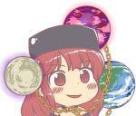 1girl bangs bare_shoulders black_shirt blush chain chains chibi dot_nose earth_(ornament) gold_chain gyate_gyate hecatia_lapislazuli ikiyouz legacy_of_lunatic_kingdom lowres moon_(ornament) open_mouth polos_crown red_eyes redhead shirt smile solo touhou transparent_background
