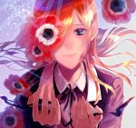 1girl anemone_(flower) bangs black_jacket black_ribbon blue_eyes blurry brown_hair check_commentary collared_jacket collared_shirt commentary_request crying crying_with_eyes_open depth_of_field fate/grand_order fate_(series) floating_hair flower hair_over_one_eye half-closed_eyes hands hands_up happy_tears jacket light_particles light_rays long_hair long_sleeves looking_at_viewer minami_leo neck_ribbon ophelia_phamrsolone parted_bangs ribbon shirt simple_background smile solo straight_hair teardrop tearing_up tears upper_body