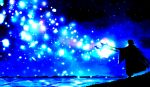 1boy ahoge blue cloak fate/grand_order fate_(series) harada_miyuki highres holding holding_staff long_hair long_sleeves male_focus merlin_(fate) monochrome solo staff standing very_long_hair