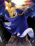 1boy afterimage cape clouds commentary_request e.o. galaxia_(sword) glint glowing highres hoshi_no_kirby kirby_(series) light mask meta_knight moon no_humans shoulder_pads sideways_glance sky star_(sky) starry_sky sword weapon yellow_eyes