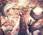 1girl absurdres animal autumn_leaves bell blonde_hair branch brown_eyes commentary_request frog highres hito_komoru long_sleeves looking_at_viewer moriya_suwako oversized_animal pipe_in_mouth pyonta red_eyes red_scarf scales scar scar_across_eye scarf shide snake sword touhou weapon