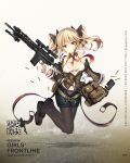 1girl bag bangs bare_shoulders battle_rifle belt bikini bikini_top black_footwear black_legwear black_ribbon black_shorts blazer blonde_hair blue_eyes blush bow bow_panties breasts brown_jacket buckle bullet character_name closed_mouth clothes_writing collarbone copyright_name detached_collar floating frown full_body girls_frontline gun hair_ornament hair_ribbon headset highres holding holding_gun holding_magazine_(weapon) holding_weapon jacket jianren larue_tactical_obr legs_up light_smile loafers logo long_hair long_sleeves magazine_(weapon) medium_breasts midriff navel necktie obr_(girls_frontline) off_shoulder official_art open_blazer open_clothes open_jacket panties panties_under_pantyhose pantyhose red_neckwear ribbon rifle scope shiny shiny_skin shoes short_shorts shorts shoulder_bag sidelocks solo stomach swimsuit trigger_discipline twintails two_side_up unbuttoned_pants underwear weapon white_bikini wide_sleeves
