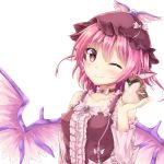 1girl absurdres akiteru98 bangs bird blush brown_choker brown_dress brown_hat choker closed_mouth commentary dress eyebrows_visible_through_hair hair_between_eyes hand_up hat highres long_sleeves looking_at_viewer mystia_lorelei one_eye_closed pink_eyes pink_hair simple_background smile solo sparrow touhou upper_body white_background wings