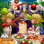 1girl 2boys :q ahoge ainz_ooal_gown aura_bella_fiora bird blonde_hair blue_eyes blush brown_gloves commentary_request cookie croissant doughnut eating food fork gloves grass green_eyes heterochromia holding holding_fork hood hood_up k-ta lich mare_bello_fiore multiple_boys necromancer overlord_(maruyama) pancake parrot plate pointy_ears short_hair skeleton skull smile table tongue tongue_out vest white_gloves white_vest