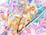 bang_dream! blonde_hair blush dress guitar long-hair shirasagi_chisato smile violet_eyes