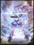 1girl bare_shoulders blue_eyes boots breasts cleavage copyright_name legend_of_the_cryptids magic midriff navel official_art open_mouth pillar purple_hair rock sky solo sparkle teeth twintails yu-han_chen