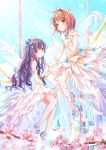 2girls animal back_bow bangs bird blue_bow blue_footwear blurry blurry_foreground blush bow brown_eyes brown_hair card_captor_sakura castle closed_mouth commentary_request crown daidouji_tomoyo depth_of_field dress eyebrows_visible_through_hair feathered_wings finger_to_mouth flower gloves hair_between_eyes hair_bow high_heels highres kinomoto_sakura long_hair mary_janes mini_crown multiple_girls peas_(peas0125) petals pink_flower purple_hair shoes sleeveless sleeveless_dress smile striped striped_bow tower transparent transparent_wings tree_branch very_long_hair violet_eyes white_dress white_footwear white_gloves white_wings wings