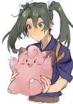1girl :d blush blush_stickers carrying claws clefairy closed_mouth commentary cropped_torso crossover fang fukazaki green_eyes green_hair grey_hair hair_between_eyes hair_ribbon japanese_clothes kantai_collection kimono long_hair looking_down open_mouth pokemon pokemon_(creature) remodel_(kantai_collection) ribbon simple_background smile tasuki twintails white_hair white_ribbon zuikaku_(kantai_collection) |_|