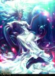 1girl artist_name blue_eyes breasts cleavage copyright_name earrings fantasy fish ghost jewelry legend_of_the_cryptids lipstick long_hair magic makeup necklace official_art sitting solo sparkle tatiana_kirgetova tiara water white_hair