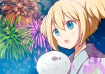 1girl :o aerial_fireworks ahoge bangs blonde_hair blue_eyes blue_kimono blush chijou_noko chikanoko commentary_request eyebrows_visible_through_hair fan fireworks floral_print hair_between_eyes japanese_clothes kimono night night_sky open_mouth outdoors paper_fan polka_dot polka_dot_kimono print_kimono ragho_no_erika short_twintails sidelocks sky solo star_(sky) starry_sky twintails unmoving_pattern