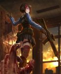 1girl belt_pouch black_gloves black_hair black_legwear black_skirt blood bloody_hands blue_jacket blurry blurry_background bulletproof_vest commentary_request copyright_request dagger dying ear_protection gloves glowing glowing_eyes gun hair_ornament hairclip highres holding holding_gun holding_weapon indoors jacket long_sleeves looking_back miniskirt plaid plaid_skirt pleated_skirt pouch pov pov_hands rifle school shaded_face shoe_locker short_hair skirt smile sniper_rifle solo_focus thigh-highs thigh_strap tom-neko_(zamudo_akiyuki) track_jacket trigger_discipline violet_eyes waving weapon weapon_request