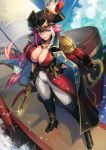 1girl azutarou black_coat black_footwear blue_eyes boat boots braid breasts cleavage clouds epaulettes fate/grand_order fate_(series) francis_drake_(fate) full_body gun hat holding holding_gun holding_weapon jacket_on_shoulders knee_boots large_breasts long_hair pants pink_hair pirate pirate_hat scar sky smile solo standing watercraft weapon white_pants