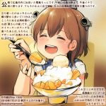 1girl ^_^ ^o^ blue_sailor_collar brown_hair closed_eyes closed_eyes colored_pencil_(medium) commentary_request dated food holding holding_spoon kantai_collection kirisawa_juuzou numbered open_mouth round_teeth sailor_collar sailor_shirt shaved_ice shirt short_hair short_sleeves smile solo spoon teeth traditional_media translation_request twitter_username white_shirt yukikaze_(kantai_collection)