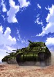 absurdres artist_request caterpillar_tracks clouds emblem girls_und_panzer ground_vehicle highres m4_sherman military military_vehicle motor_vehicle no_humans official_art saunders_(emblem) sky tank