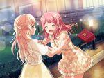 bang_dream! blush closed_eyes dress long_hair maruyama_aya pink_hair shirasagi_chisato