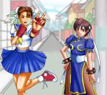 2girls bangs bare_legs blue_dress blue_sailor_collar blue_skirt blurry blurry_background bracelet brown_eyes brown_hair bun_cover capcom china_dress chinese_clothes chun-li chun-li_(cosplay) commentary cosplay costume_switch double_bun dress fingerless_gloves gloves headband jewelry kasugano_sakura kasugano_sakura_(cosplay) multiple_girls neckerchief pantyhose pixiv pleated_skirt psychosoldier puffy_short_sleeves puffy_sleeves sailor_collar school_uniform serafuku shoes short_hair short_sleeves skirt smile sneakers spiked_bracelet spikes street_fighter v victory_pose yellow_neckwear