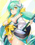 1girl :d aqua_hair bare_shoulders bikini blush bow breasts cleavage dragon_horns eyebrows_visible_through_hair fate/grand_order fate_(series) hair_between_eyes hair_bow hayama_eishi highres horns japanese_clothes kimono kiyohime_(fate/grand_order) kiyohime_(swimsuit_lancer)_(fate) large_breasts long_hair long_sleeves looking_at_viewer open_mouth polearm short_kimono sketch smile solo swimsuit very_long_hair weapon wide_sleeves yellow_bikini yellow_bow yellow_eyes