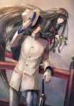 1boy 1girl black_hair commentary_request dress fate/grand_order fate_(series) floating frog gloves hat highres holding holding_hat katana kuroi_susumu leaning_on_rail long_dress long_hair military military_uniform naval_uniform oryou_(fate) red_eyes sailor_dress sakamoto_ryouma_(fate) sword uniform very_long_hair weapon white_gloves white_hat
