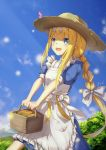 1girl :d alice_schuberg apron artist_name basket blonde_hair blue_eyes blue_shirt blue_skirt blue_sky braid day hairband hat highres holding holding_basket long_hair low-tied_long_hair open_mouth outdoors ponytail shirt short_sleeves sidelocks single_braid skirt sky smile solo standing straw_hat sun_hat sword_art_online very_long_hair white_apron white_hairband yeh_(354162698)