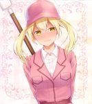 1girl arms_behind_back baseball_cap blonde_hair blush breasts collared_shirt dutch_angle eosinophil_(hataraku_saibou) fur-trimmed_hat hat hataraku_saibou jacket lips looking_away medium_breasts pink_jacket polearm shirt short_hair solo spear tata_kitu twintails upper_body wavy_mouth weapon yellow_eyes