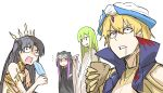 1boy 1other 2girls absurdres androgynous arabian_clothes bangs bare_shoulders black_hair blonde_hair collar commentary_request constricted_pupils crown cup earrings enkidu_(fate/strange_fake) eyebrows_visible_through_hair fate/grand_order fate/strange_fake fate_(series) food gauntlets gilgamesh gilgamesh_(caster)_(fate) green_hair hair_between_eyes high_collar highres hood hoop_earrings ishtar_(fate/grand_order) jewelry kan_(aaaaari35) long_hair medusa_(lancer)_(fate) multiple_boys multiple_girls open_mouth pointing popsicle purple_hair red_eyes rider robe saliva shocked_eyes short_hair smile surprised tohsaka_rin trap very_long_hair violet_eyes white_background