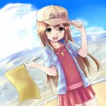 1girl arms_up beach blue_shirt brown_eyes brown_hair clouds dress flag hand_on_headwear hat hataraku_saibou highres jd_(bibirijd) long_hair ocean open_clothes open_mouth open_shirt outdoors platelet_(hataraku_saibou) polka_dot polka_dot_dress red_dress shirt short_dress sky solo whistle