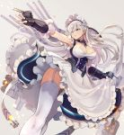 1girl apron armpits azur_lane bangs belfast_(azur_lane) blue_eyes braid breasts cannon chains cleavage closed_mouth collar collarbone corset dress eyebrows_visible_through_hair firing french_braid frills garter_straps gloves highres large_breasts light_particles long_hair looking_at_viewer looking_away machinery maid maid_headdress outstretched_arm rigging silver_hair solo thigh-highs thighs torpedo_launcher turret white_gloves white_legwear yuko_(uc_yuk)