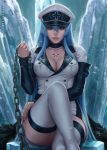 1girl 2018 akame_ga_kill! artist_name bangs black_choker blue_eyes blue_hair blurry boots breasts chains chest_tattoo choker cleavage collarbone commentary cross depth_of_field double-breasted english_commentary esdeath fingernails hair_between_eyes hand_on_own_thigh hat highres holding ice legs_crossed lips long_hair long_sleeves looking_at_viewer medium_breasts military military_uniform nose parted_lips peaked_cap pov sciamano240 shirt sidelocks signature sitting sleeves_past_wrists smile solo tattoo thigh-highs thigh_boots thighs uniform very_long_hair white_footwear white_hat white_shirt