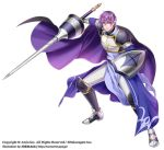 1boy armor black_cape boots breastplate cape fighting_stance full_body greaves lance looking_at_viewer male_focus official_art paranai polearm purple_cape purple_hair shield shoulder_armor standing violet_eyes watermark weapon wii_hola