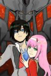 1boy 1girl bangs black_hair blue_eyes chest_scar commentary_request cookie9603 couple darling_in_the_franxx green_eyes hair_ornament hairband hand_on_another's_chest hetero hiro_(darling_in_the_franxx) horns long_hair long_sleeves looking_at_viewer mecha military military_uniform necktie oni_horns open_clothes open_shirt pink_hair red_horns red_neckwear scar short_hair strelizia uniform white_hairband zero_two_(darling_in_the_franxx)