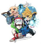 4boys android armor azure_striker_gunvolt baseball_cap black_hair blade_strangers blonde_hair blue_eyes crossover crying crying_with_eyes_open doukutsu_monogatari dual_wielding electricity fingerless_gloves full_armor gloves gun gunvolt handgun hat helmet holding holding_weapon horned_helmet isaac_(the_binding_of_isaac) kitchen_knife male_focus multiple_boys multiple_crossover neckerchief nishimura_kinu official_art over_shoulder pistol popped_collar quote reverse_grip revolver robot_ears short_sword shovel shovel_knight shovel_knight_(character) spiky_hair sword tears the_binding_of_isaac weapon weapon_over_shoulder white_background