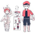 1boy 1girl ae-3803 ahoge black_eyes boots carrying_under_arm comic cosplay costume_switch directional_arrow english hataraku_saibou jacket package red_blood_cell_(hatataku_saibou) red_blood_cell_(hatataku_saibou)_(cosplay) red_eyes red_jacket redhead salute short_hair shorts smile u-1146 white_blood_cell_(hataraku_saibou) white_blood_cell_(hataraku_saibou)_(cosplay) white_hair