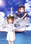 2girls absurdres anchor binoculars boat breast_pocket brown_eyes brown_hair buttons cannon clouds collared_jacket day flag girls_und_panzer hat highres holding insignia japan_coast_guard kadotani_anzu military military_hat military_rank_insignia military_uniform military_vehicle multiple_girls naval_uniform nishizumi_miho ocean official_art open_mouth outdoors pocket radar salute ship skirt sky smile twintails uniform warship water watercraft weapon