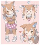 1girl ancolatte_(onikuanco) anger_vein animal_ears blush commentary_request disembodied_limb eyebrows_visible_through_hair fang full_body fur_collar hand_on_another's_face headshot heart highres japanese_wolf_(kemono_friends) kemono_friends light_brown_hair long_hair long_sleeves multicolored_hair multiple_views neckerchief partially_translated plaid plaid_neckwear plaid_skirt pleated_skirt sailor_collar skirt squishing sweatdrop sweater tail thigh-highs white_hair wolf_ears wolf_tail zettai_ryouiki