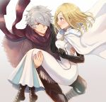 1boy 1girl blonde_hair blush cape carrying couple dress gloves hair_over_one_eye hetero jewelry long_hair octopath_traveler ophilia_(octopath_traveler) princess_carry scarf short_hair smile therion_(octopath_traveler) wspread