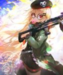 1girl bangs beret black-framed_eyewear black_hat black_shirt blonde_hair bubble_blowing chewing_gum commentary_request eyebrows_visible_through_hair girls_frontline glasses green_jacket gun hair_between_eyes hair_ornament hairclip hat holding holding_gun holding_weapon jacket long_hair long_sleeves looking_at_viewer namie-kun object_namesake open_clothes open_jacket over_shoulder red_eyes round_eyewear shirt signature skull_print sleeves_past_wrists solo translated type_80 type_80_(girls_frontline) v-shaped_eyebrows very_long_hair weapon weapon_over_shoulder
