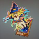 1girl blonde_hair breasts card_(medium) dark_magician_girl duel_monster green_eyes shirosu staff yu-gi-oh!